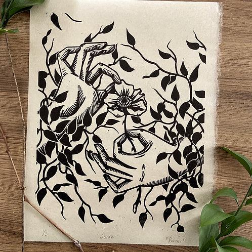 Garden, Linocut Print