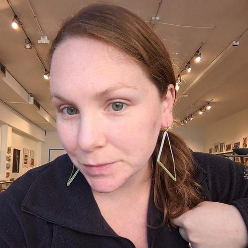 Blue and Green Bent Diamond Earrings