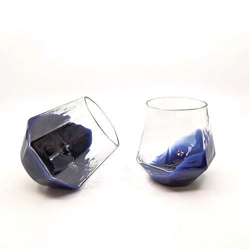 Navy 7 Sided Wine Glass