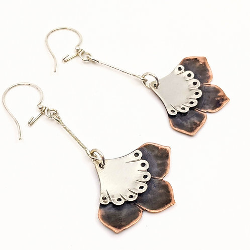 Copper Fan Earrings with Long Dangle