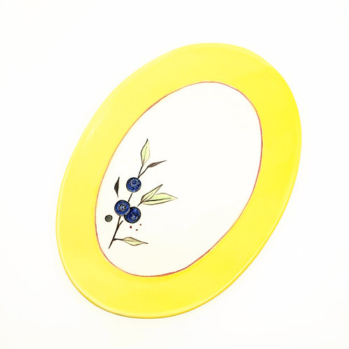 Bright Yellow Blueberry Serving Dish