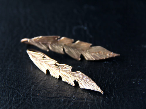 BRONZE LEAF EARRING, 8th Anniversary, Mother's Day Gift / BR1010