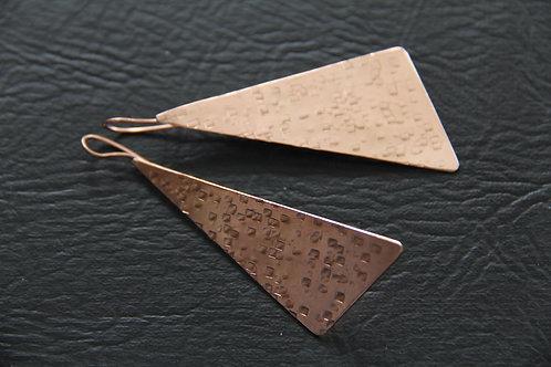 COPPER WAVE EARRINGS, 7th Anniversary Gift, Kite Earrings / CO1036