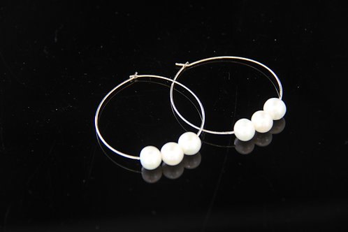 PEARL HOOP EARRINGS, Cultured Round Pearl, Cream Color /PL1000