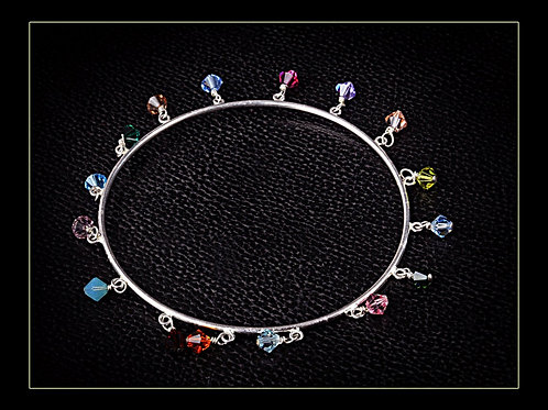 SILVER CRYSTAL BANGLE, 25th Anniversary Gift, Wedding Anniversary / SL1008