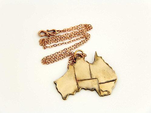 BRONZE AUSTRALIA MAP Pendant, 8th Anniversary,  Map of Australia /BR1001