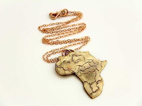 BRONZE AFRICA MAP Pendant, 8th Anniversary, Antique Bronze /BR1002