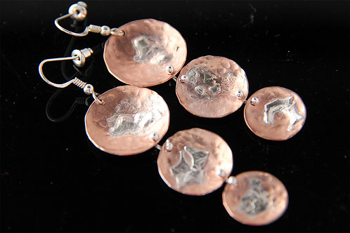 COPPER SILVER EARRINGS, 7th Anniversary Gift, Gift for Women / CO1028