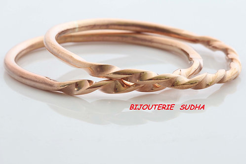 BRONZE TWIST BANGLE, 8th Anniversary, Solid Bronze, Unisex Gifts /BR1006