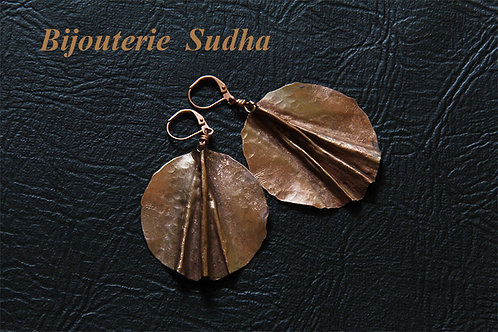Copper Fold Form Earrings.