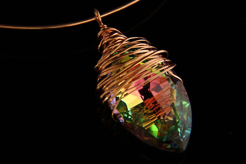NAVETTE CRYSTAL PENDANT, 7th Anniversary Gift, Valentines Gift  /CR1024