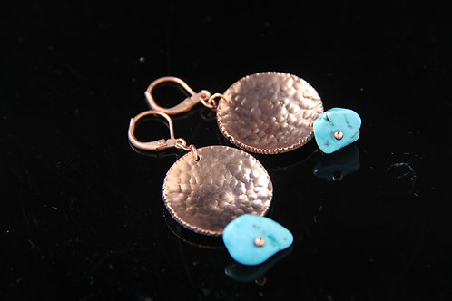 COPPER DISC EARRINGS, Valentine's Day Gift, 7th Anniversary Gift /CO1026