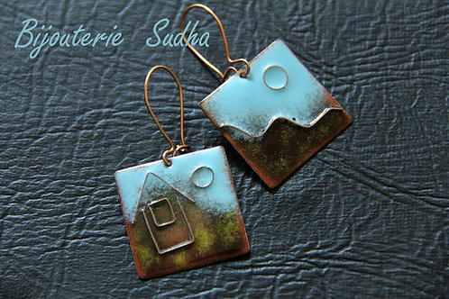 ENAMEL CLOISONNÉ EARRINGS, Mothers Day Gift, Anniversary Gift /EN1004