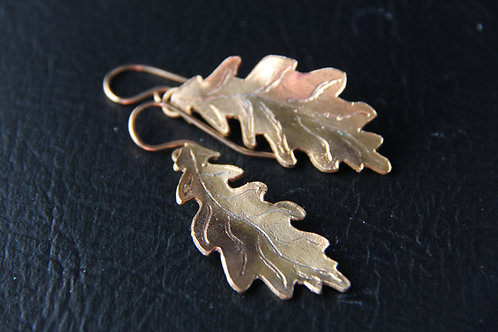 BRONZE LEAF EARRINGS, 8th Anniversary, Antique Bronze /BR1005