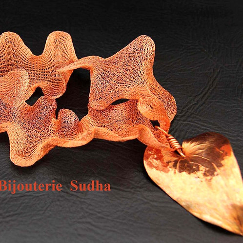 COPPER MESH LEAF Pendant, 7th Anniversary Gift, Copper Plated Ivy Leaf / CO1084