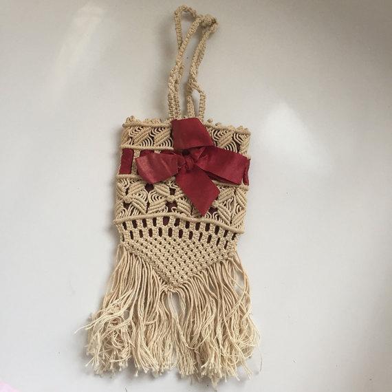 1920s macramé  handbag