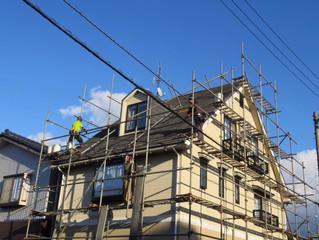 街中の3階建て 外壁工事スタート