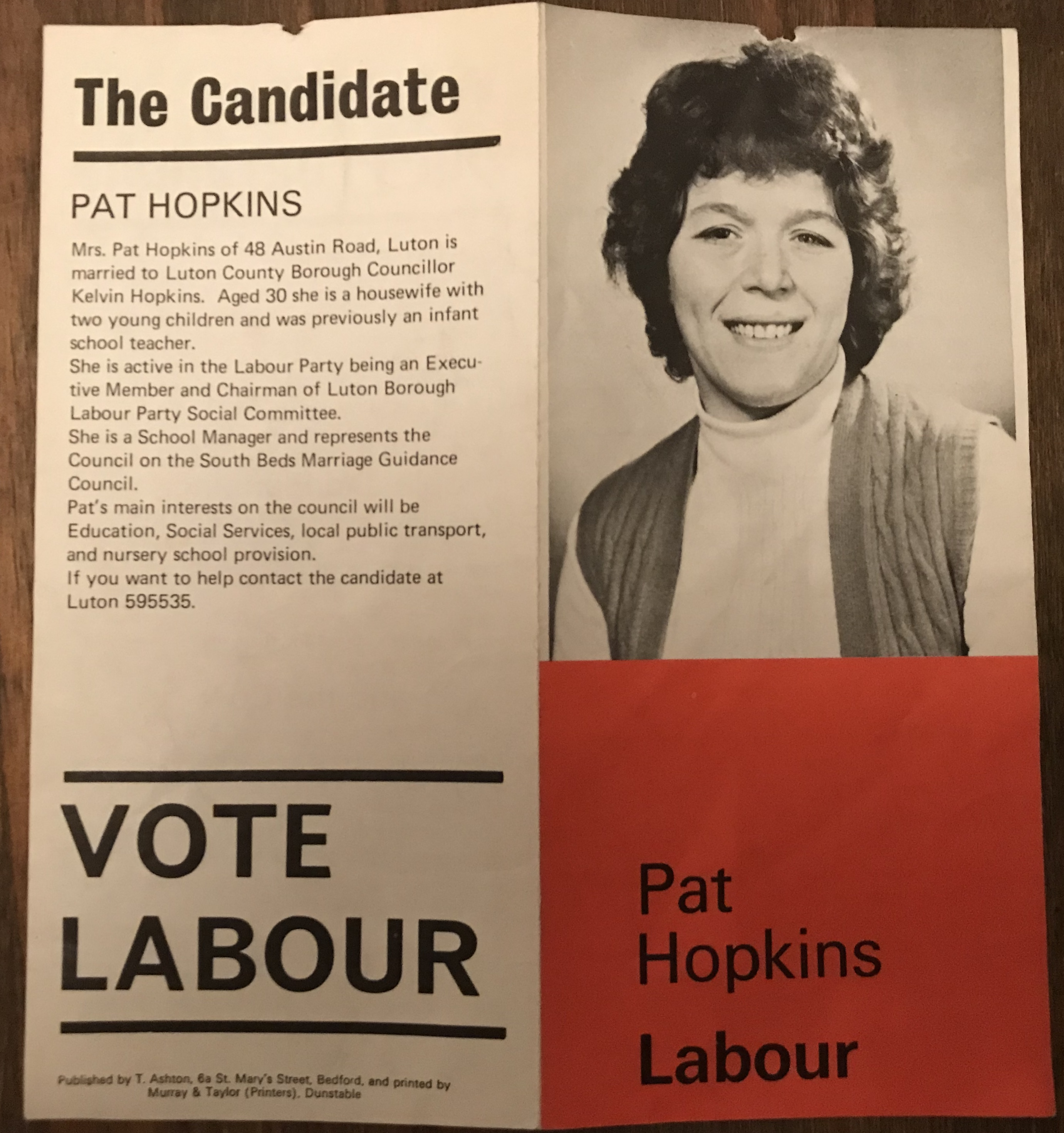 My Mum Pat was elected as a councillor i