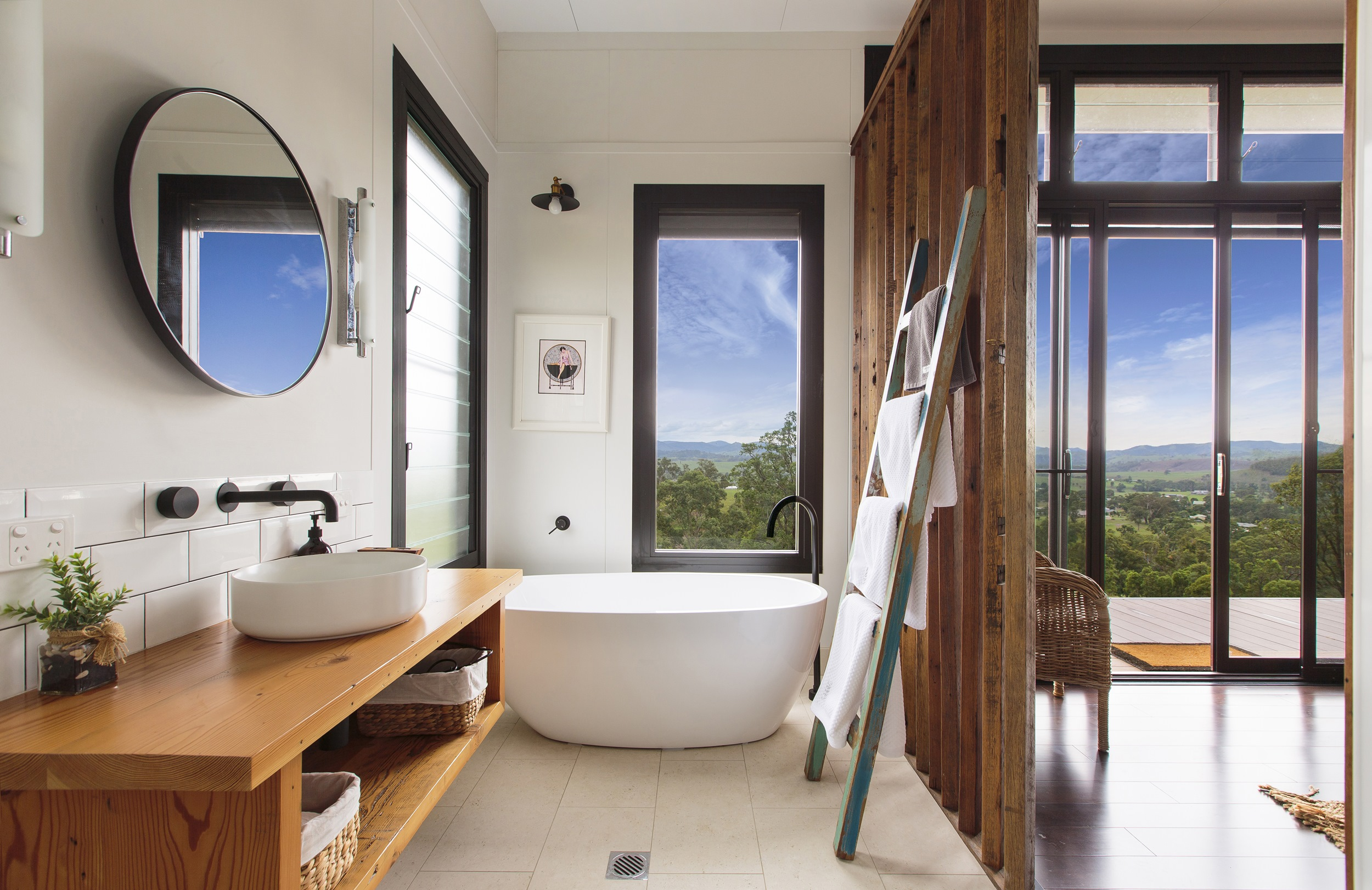 Glamorous bathroom with views