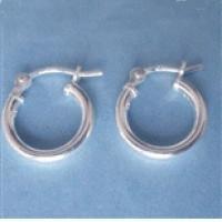 12mm Sterling Silver Hoop Earrings - (1 Pair)