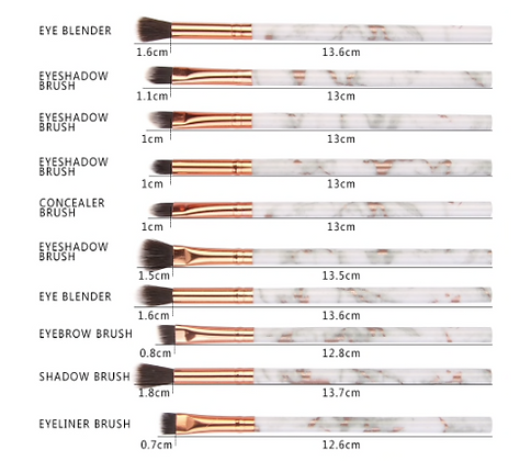 Marble Makeup Brushes - Set of 3