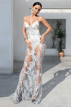 Silver Sequin Maxi Dress