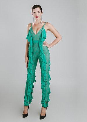 Green Ruffles Jumpsuit