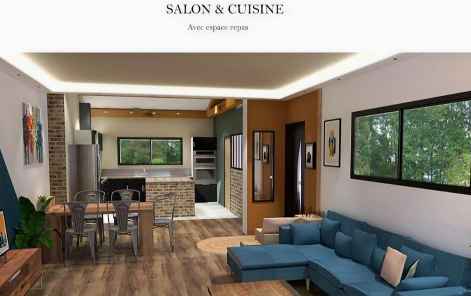 Salon coloré et chaleureux