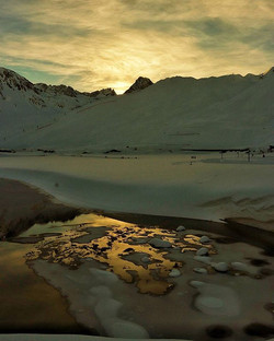#river #reflection #ice #snow #mountains