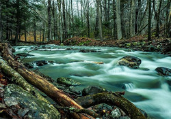 Long exposure shot of a river near the b