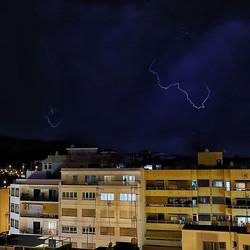 Lightning strikes in ibiza town