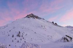 #mountain #snow #pinksky #moon #cresentm