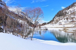 #lake #water #bluesky #mountains #trees