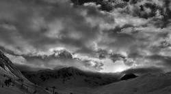 #mountains #clouds #snow #sun #blackandw