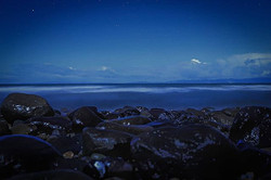 Long exposure shot of the ocean from are