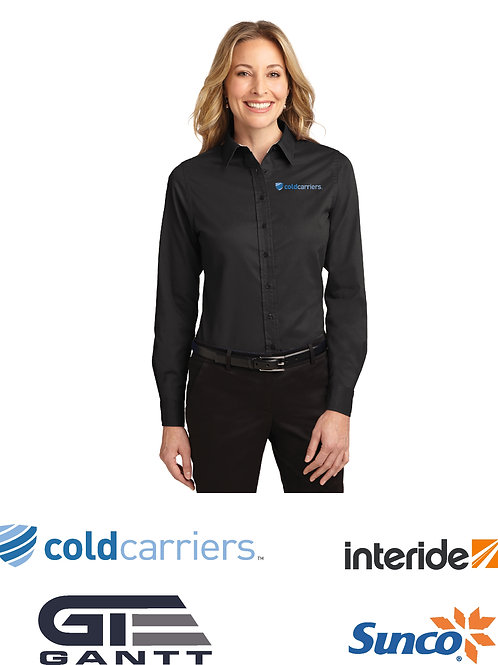 Ladies Black Long Sleeve Easy Care Shirt