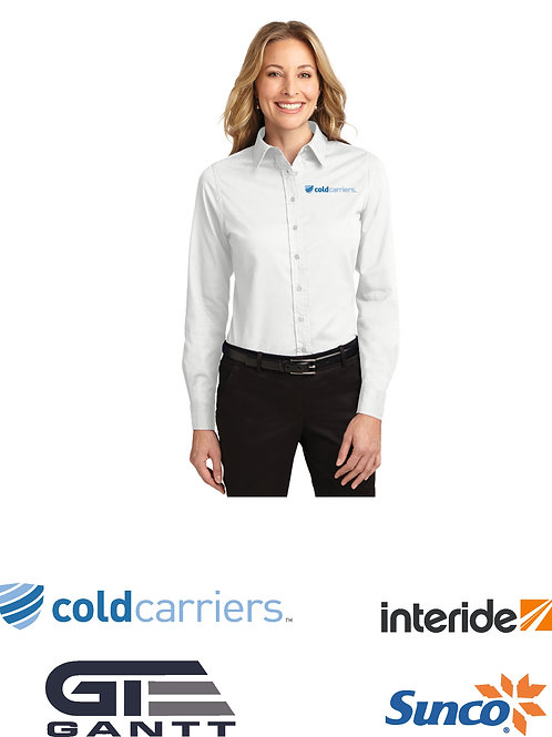 Ladies White Long Sleeve Easy Care Shirt