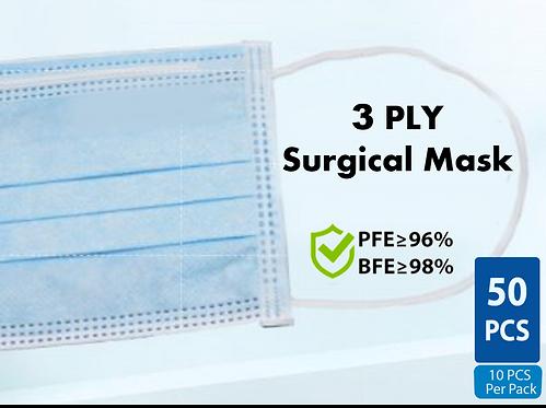 三层医用口罩 3 Ply Surgical Mask [50片 Pcs]