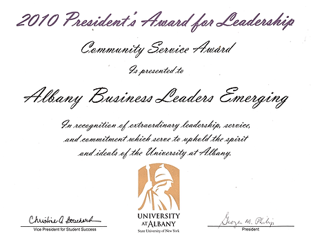 Presidents award for leadership communit