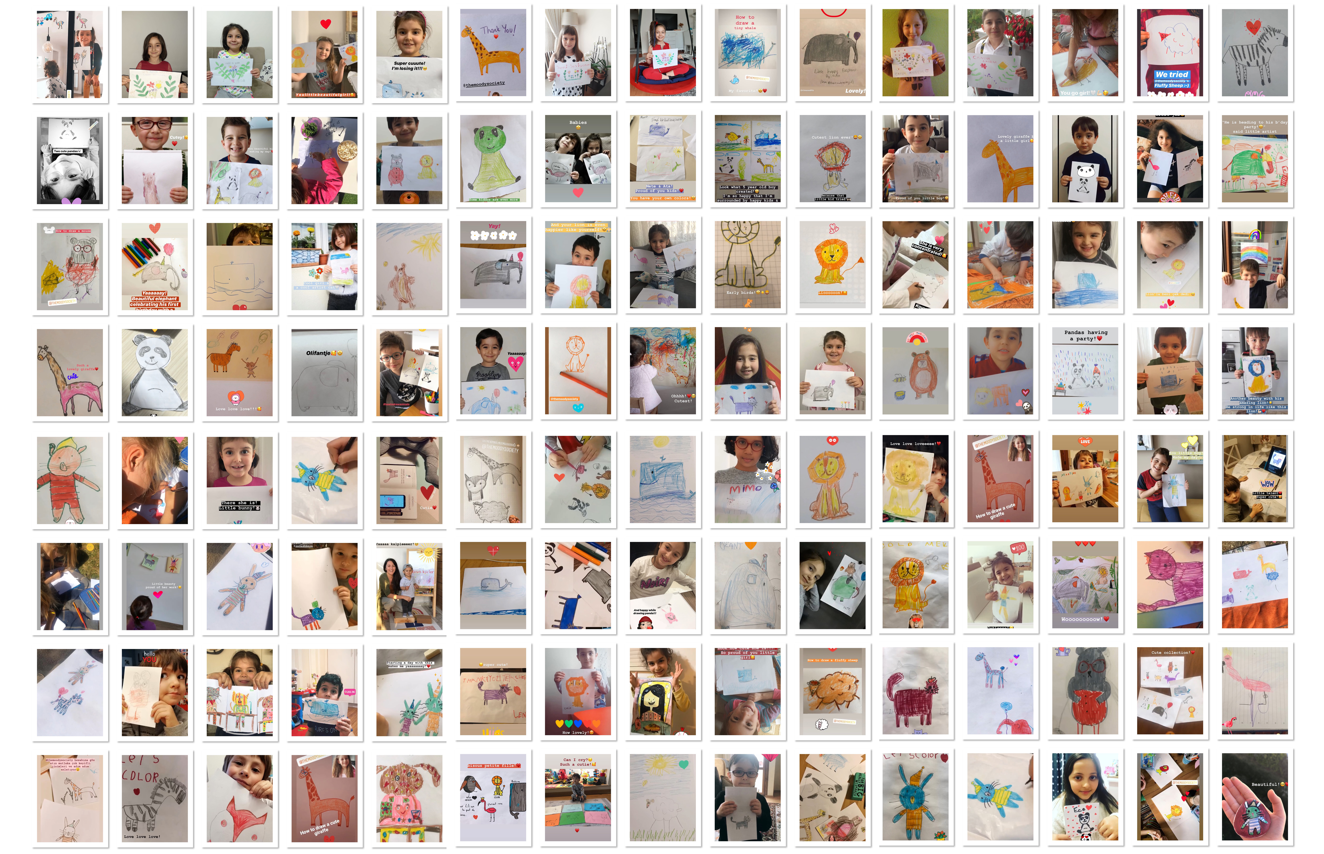 children with their drawings