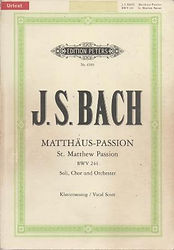 Partition Bach Passion selon St Matthieu