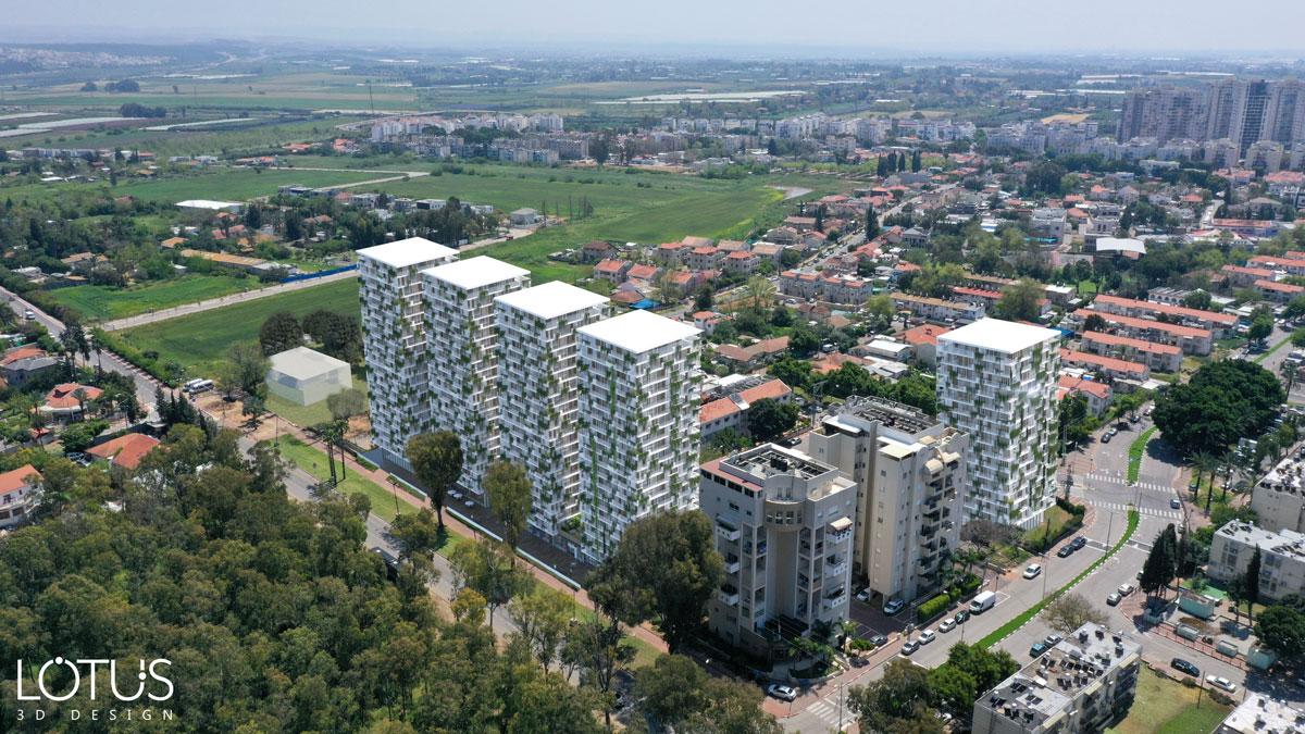 הדמיות חוץ-מידול ושתילת הבניינים בסביבה