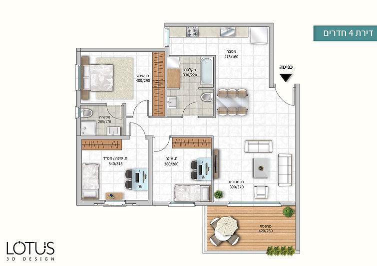 צביעת תוכניות מכר דירת 4 חדרים