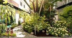 הדמיית חוץ - גן טרופי בבניין דירות