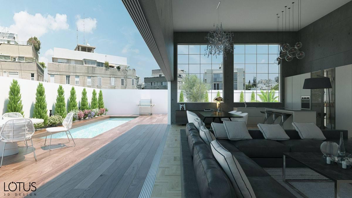 הדמיית חוץ - הדמיה של סלון ומרפסת
