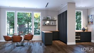 הדמיית פנים למטבח בעיצוב מודרני נקי