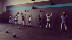 Today's WOD_3 rounds for time_40 wallballs_30 box jump overs_20 ring dips _10 kettle bell clean & je