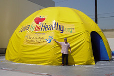30ft inflatable dome tent with printed Learn to be Healthy