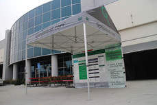 10x10 custom pop up gable roof frame canopy with printed graphics ganjaroad