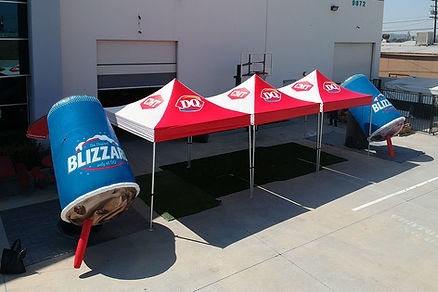 10x10 custom printed pop up tents and inflable cup for Dairy Queen